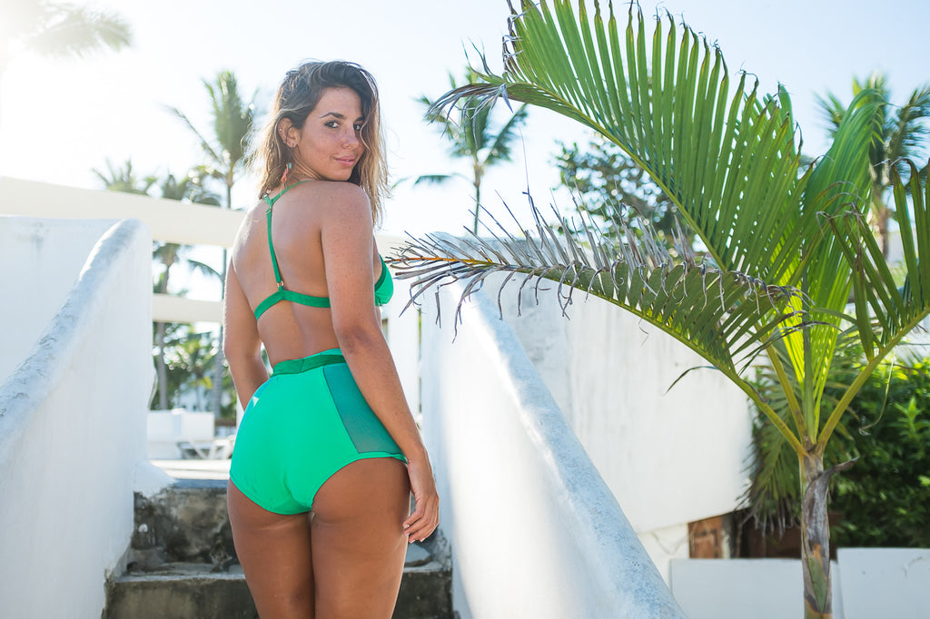 High Waisted Mesh Bottoms with Tie - Kelly & Kermit Green