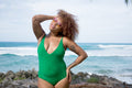 Deep V One Piece - Kelly / Kermit Green