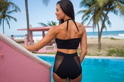 High Waisted Mesh Bottoms with Tie - Black