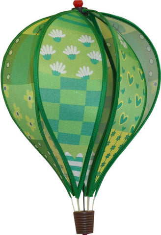 Small Hot Air Balloon Spinner - Patchwork Green - SKY HIGH KITES - 1