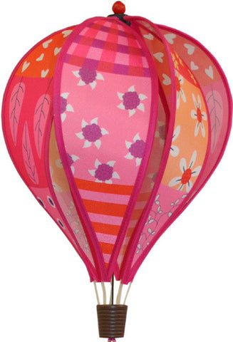 Small Hot Air Balloon Spinner - Patchwork Pink - SKY HIGH KITES - 1