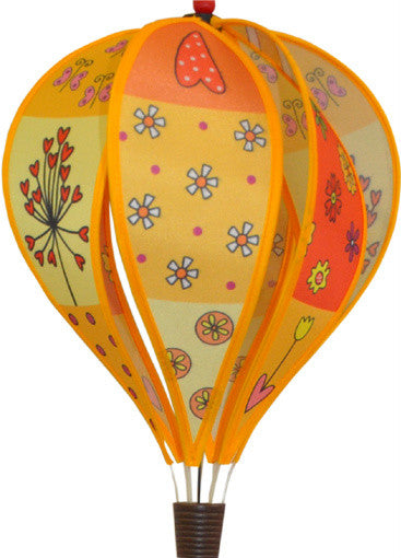 Small Hot Air Balloon Spinner - Patchwork Yellow - SKY HIGH KITES - 1