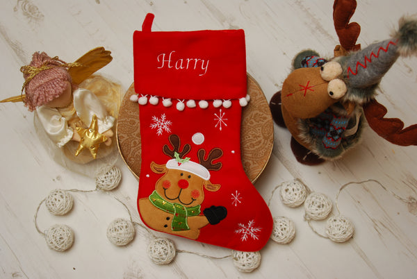 Personalised Reindeer Red Deluxe Luxury Embroidered Kids Christmas Stocking