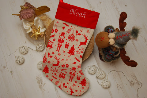 Personalised Nordic Deluxe Luxury Embroidered Kids Christmas Stocking