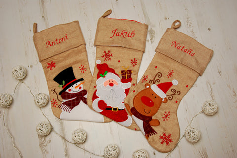 Personalised Hessian Luxury Embroidered Kids Christmas Stocking