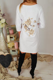 MARIELLA WHITE  3D FLOWERS DRESS TUNIC