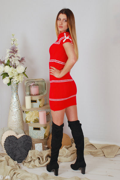 IVY KNITWEAR DRESS - RED
