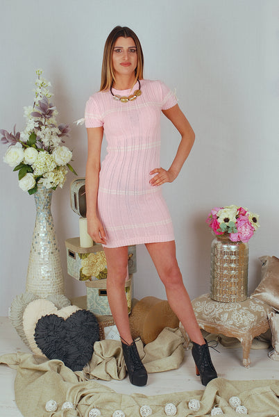 IVY KNITWEAR DRESS - PINK / GREY