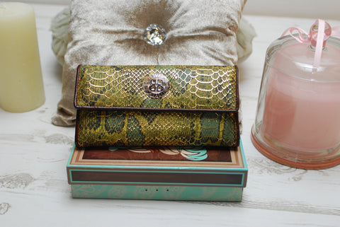 wallet purse Roberto Cavalli large green snake skin