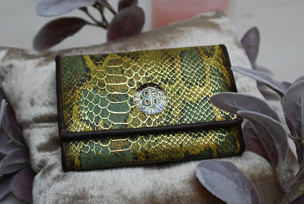 wallet purse Roberto Cavalli small  green snake skin