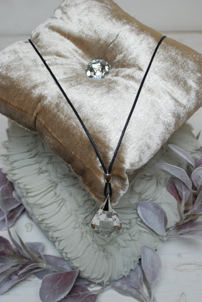 Long Glass Stone Pendant Necklace
