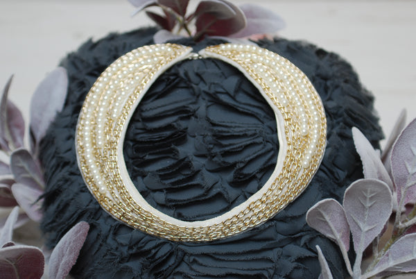 White Pearl and Gold Chain Bib Collar
