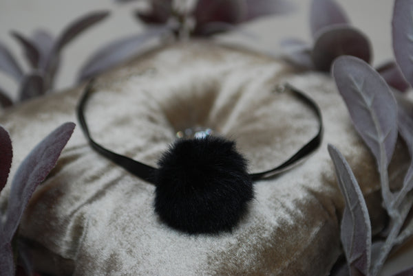 Black Choker with Pom Pom