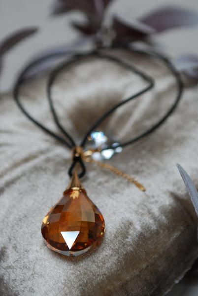 Long Glass Water Drop Gold Pendant Necklace