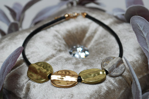 Gold Grey Short Round Necklace
