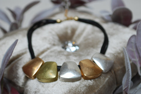 Gold Grey Short Square Stone Necklace