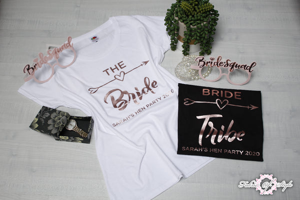Hen Do Party Bride Tribe Wedding  Custom Personalised T-shirt Ladies Female Rose Gold