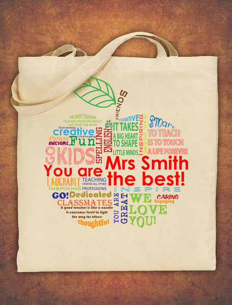 PERSONALISED  Tote Bag Thank You Teacher School Gift  Apple Design