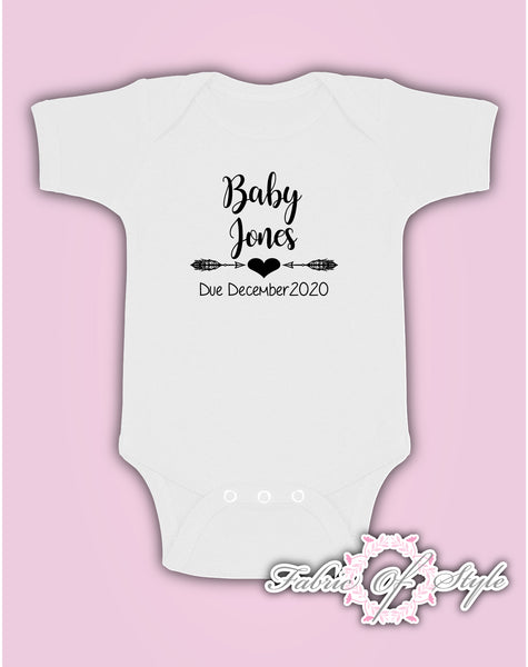 Pregnancy Baby Announcement Personalised Name Baby Kids Body Suit Vest