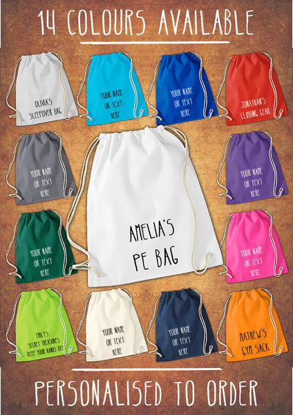 Personalised Cotton Sport Drawstring Bag PE GYM School P.E Kids Rucksack