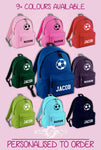 Personalised Kids Backpack Ball Name Girls Boys Back To School Bag
