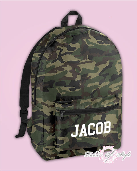 Personalised Any Name Camo PE Kit School Boys Gym Kids Back to School Backpack