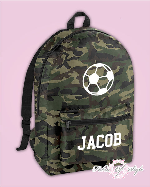Personalised Football Camo PE Kit School Boys Gym Kids Back to School Backpack