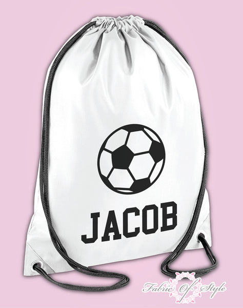 Personalised Any Name Football Girls Back To Drawstring Bag PE GYM School Kids
