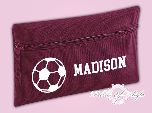 Personalised Football Pencil Case Kids Office Stationery Back To School Zip School Bag