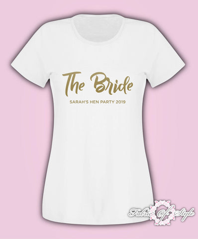 Hen Do Party Team Bride Tribe Custom Personalised T-shirt Ladies Female Gold