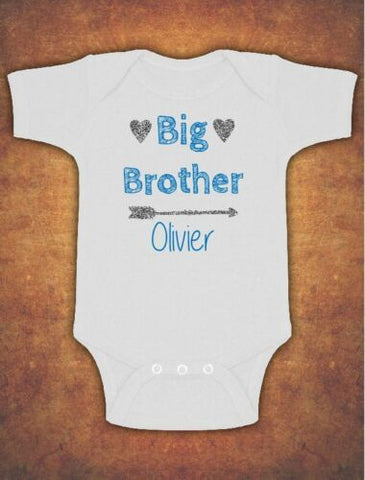 Personalised Big Brother Birthday Present Gift baby Kids Grow Body Suit Vest Boy