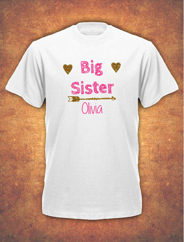 Personalised Big Sister Birthday Present Gift baby Children's T-shirt kids