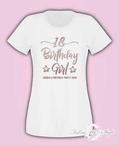 Rose Gold Personalised Birthday Girl Squad Any Year 18th 21st 30th 40th T-shirt Female