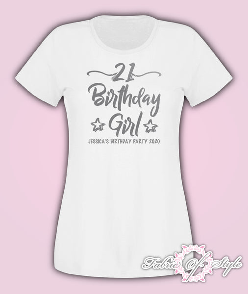 Silver Personalised Birthday Girl Squad Any Year 18th 21st 30th 40th T-shirt Female