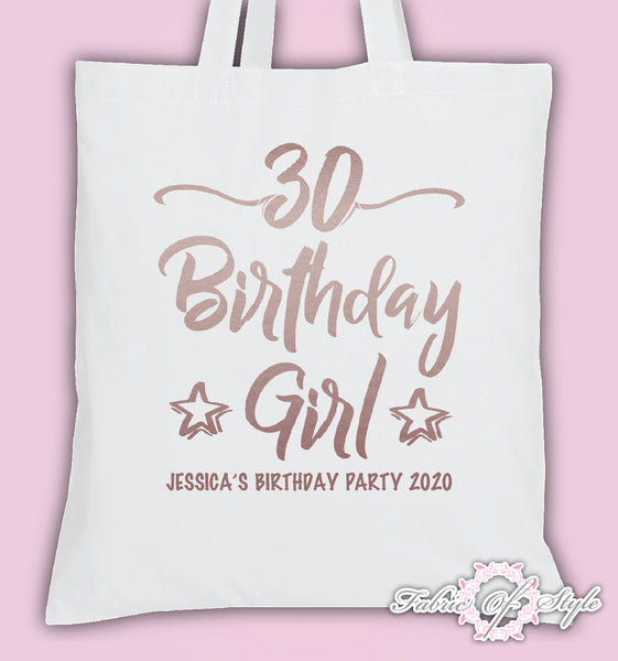 Personalised Birthday Girl Squad 18th 21st Personalised Tote Bags Rose Gold