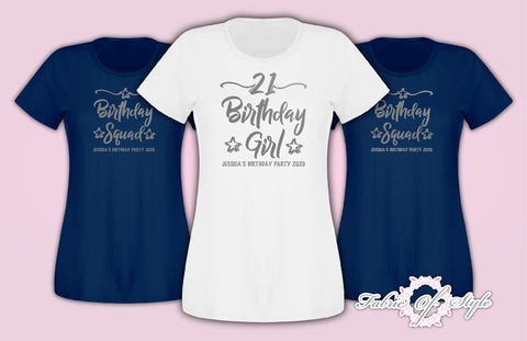 Personalised Birthday Girl Squad 18th 21st 30th 40th 50th T-shirt Ladies Navy Silver