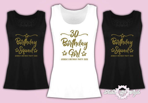 Personalised Vest Tank Birthday Girl Any Year 18th 21st 30th 40th T-shirt Female  Gold