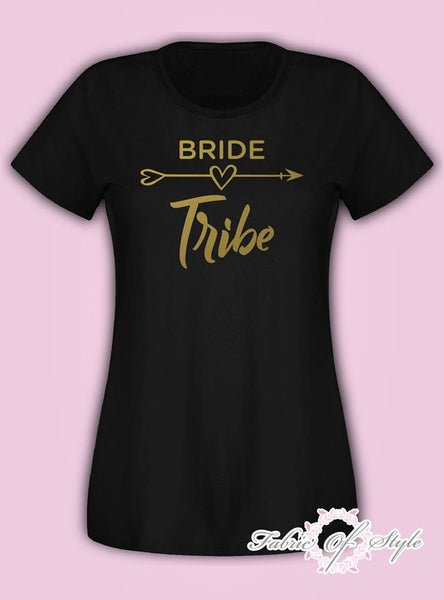 Hen Do Party Bride Tribe Wedding  T-shirt Ladies Female Gold