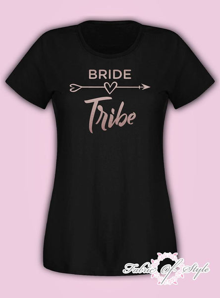 Do Party Bride Tribe Wedding Team T-shirt Ladies Female Rose Gold