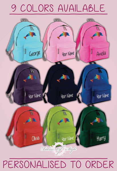 Personalised Kids Backpack - Any Name Dolphin Girls Boys Back To School Bag
