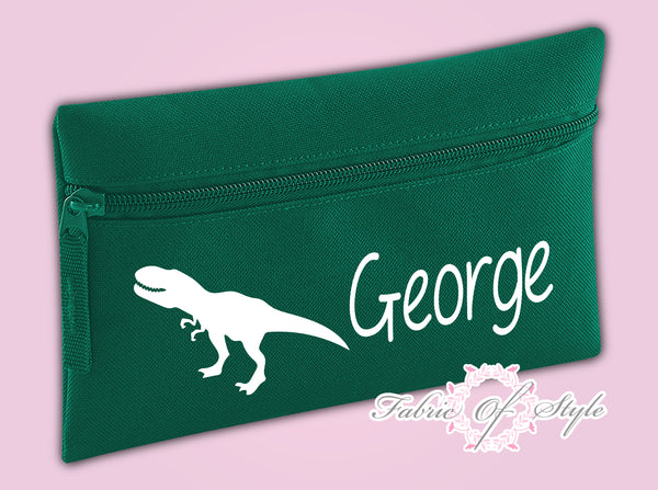 Personalised Dinosaur Pencil Case Kids Office Stationery Back To School Zip School Bag