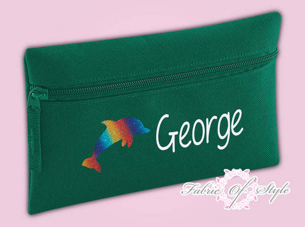 Personalised Dolphin Pencil Case Kids Stationery Back To School Zip School Bag