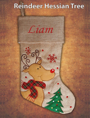Personalised Hessian Luxury Embroidered Kids Christmas Stocking Reindeer Hessian Tree