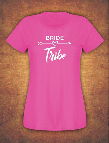 Fast and Free Hen Do Party Bride Tribe  Weeding T-shirt Ladies Female Fushia