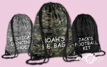 Personalised Camo PE Kit School Back to Boys Gym Kids Backpack Drawstring Bag