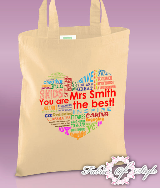 PERSONALISED  Tote Bag Thank You Teacher School Gift  Heart Design