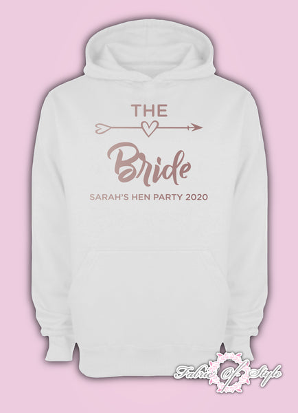 Rose Gold Personalised Hen Do Party Bride Tribe  Ladies Female Hoodie