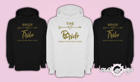 Gold Personalised Hen Do Party Bride Tribe Ladies Female Hoodie
