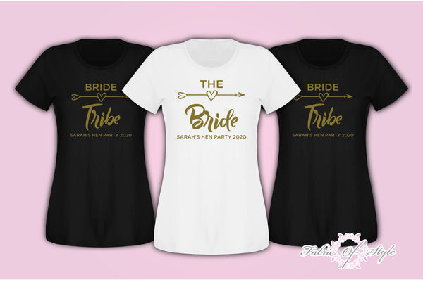 Hen Do Party Bride Tribe Wedding  Custom Personalised T-shirt Ladies Female Gold