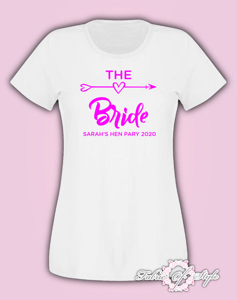 Hen Do Party Bride Tribe Personalised T-shirt Ladies Female Pink Lettering